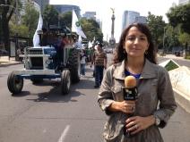 Protesta de campesinos en la ciudad de México, 2013.