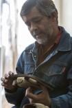 El escultor Alfredo López Casanova y su proyecto su proyecto Huellas de la Memoria. Ciudad de México, Marzo de 2016. Foto: Miguel Tovar